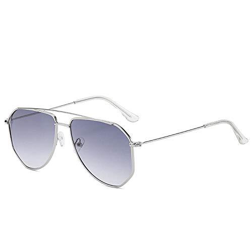 DLSM Retro Pilot Sunglasses Women Men Clear Lens Sun Glasses Vintage Irregular Oversized Pink Blue Eyewear-C5Silver Grad Grey