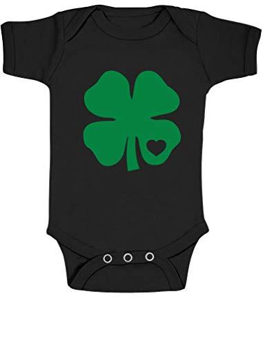 Green Turtle T-Shirts Baby St. Patrick's Day Grünes Kleeblatt mit Herz Kurzarm-Body Baby Body 0-3 Months Schwarz