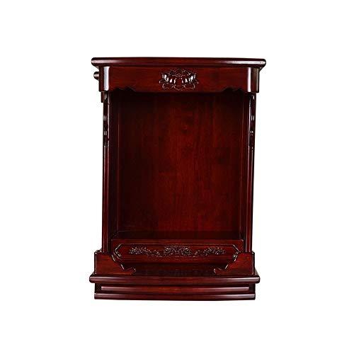 Holz-Buddha-Schrein kleiner Hängeschrank Guanyin Gott des Reichtum Wand-Haus-Altar Kabinett, Geeignet for Platz Ihrer Spiritual Dekoration (Color : Black)