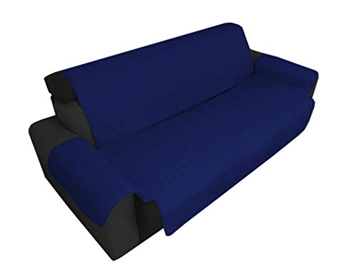 Tex family Elegance Sofa Cover Stain-Resistant Quilted Smooth Blue 1 Seat 55 cm