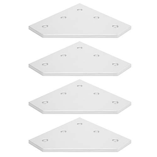 Placa de unión exterior, placa de unión de 5 orificios, herramienta de conexión plateada en ángulo recto Práctico enrutador CNC de 4 piezas para impresora 3D(Type 4040L)