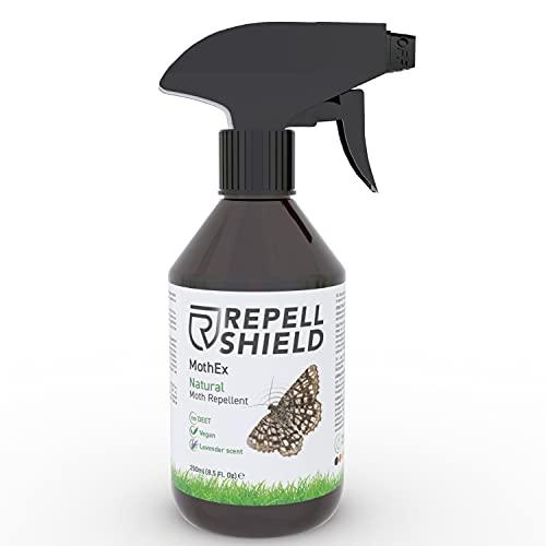 RepellShield Anti Mottenspray gegen Motten aller Art - Natürliches Kleidermotten Spray als Mottenschutz für Kleiderschrank und Küche, Biologische Alternative zu Mottenfallen oder Mottenkugeln - 250ml