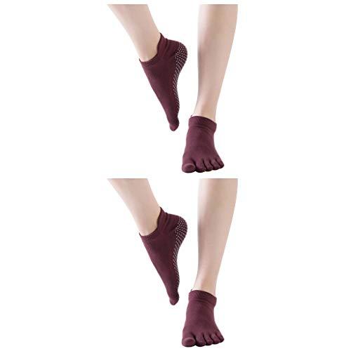 cinnamou 2 Paar Frauen Yoga Socken, Frauen Ballettsocken Tanzende Socken, Toe Sox Rutschfeste Socken Damensocken 5 Finger Socken Yoga Socken Socken Anti Rutsch Socken Damensocken Ballett Bodensocken