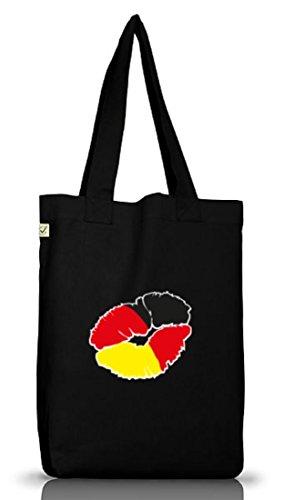 Shirtstreet24, EM/WM 12 - Kussmund Deutschland, Jutebeutel Stoff Tasche Earth Positive (ONE SIZE), Größe: onesize,Black