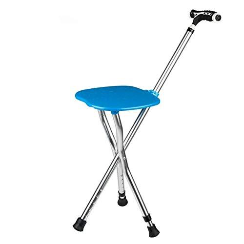 WXK Outdoor-Reisen Angeln Strandkorb, Multifunktions-Outdoor tragbare Falten Sicherheit mittlere und Alter gealterter Stuhl, for Gehhilfen for Ältere (Color : Bue with LED Light)