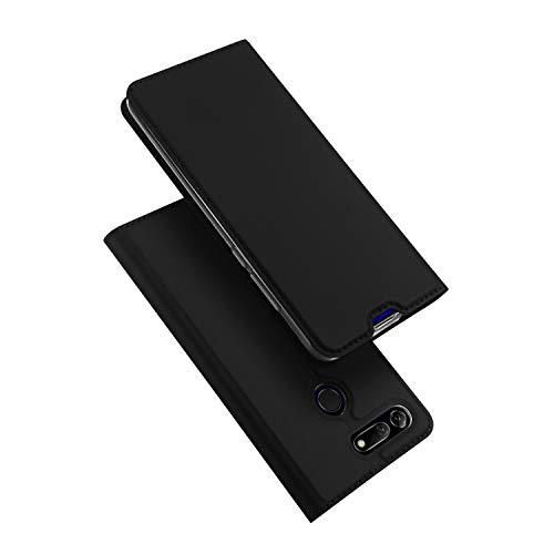 DUX DUCIS Hülle für Honor View 20, Leder Flip Handyhülle Schutzhülle Tasche Case mit [Kartenfach] [Standfunktion] [Magnetverschluss] für Huawei Honor View 20 (Schwarz)