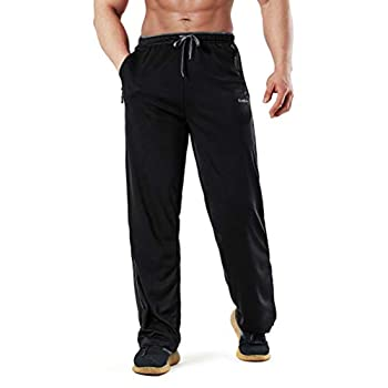 KouKou Men s Sweatpants Open Bottom Athletic Running Jogging Zipper Pockets-KT-KK001-Black/Grey-M