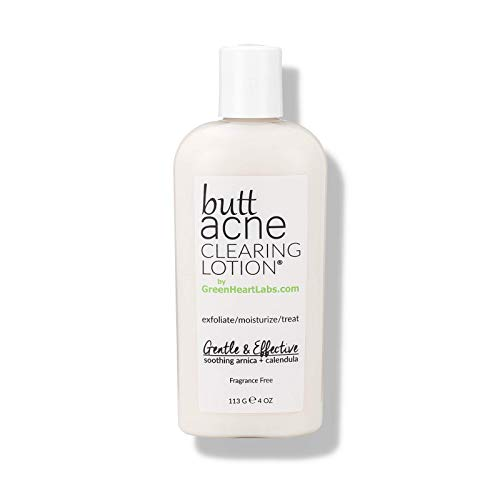 Butt Acne Clearing Lotion for Body, Back, Bum, & Thigh - Special Acne Treatment Cream Formula Clears Pimples, Spots, Ingrown Hairs, Razor Burn, Bumps, Blackheads, and Blemishes. Vegan & Cruelty Free. - by Green Heart Labs, Mfg by THE LAB & CO.