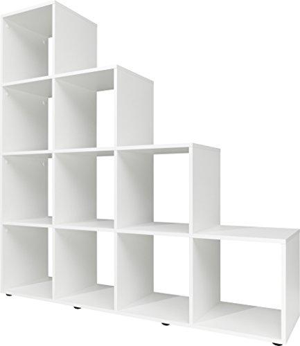 Stufenregal, Holz, weiß, 32 x 139 x 141 cm