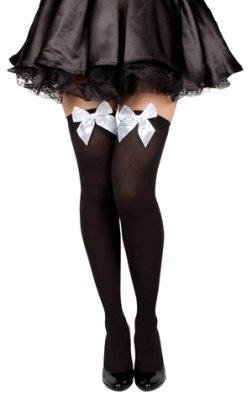 HAAC Nylon halterlose Strümpfe schwarz mit weißer Schleife für Fasching Karneval Party