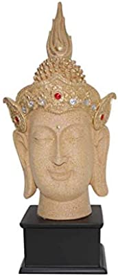 Fabzone Antique Look Lord Buddha Face with Base Handicraft Idol God Gautam Buddh Statue Decorative Showpiece Figurine- 37 cm (Sand)