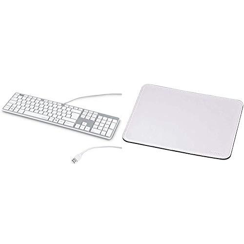 Hama PC Tastatur kabelgebunden USB gerauscharm Deutsches Layout QWERTZ Wired Keyboard weis Silber Mauspad 22 x 18 cm Office Mousepad in Lederoptik Optimale Gleitfahigkeit weis