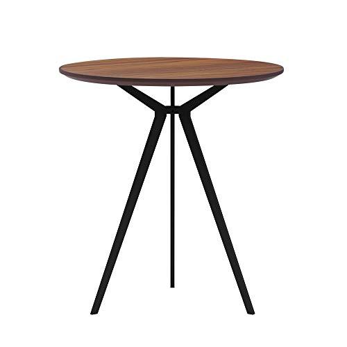 SENGLIDA Kleiner runder Tisch für den Konferenzraum mit 3 Beinen, Kleiner Küchentisch, wasserdichter und kratzfester Wohnzimmertisch, einfache Montage, Nussbaum, 70 * 75 cm.