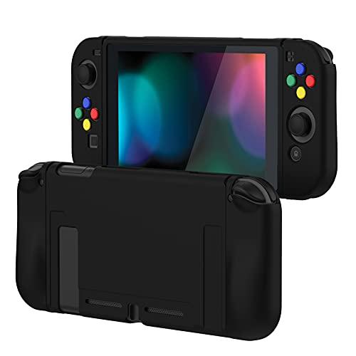 playvital Negro Funda para Nintendo Switch, Suave TPU Case Protectora para Nintendo Switch Joy-con Consola con Pegatinas de Botón de ABXY Dirección