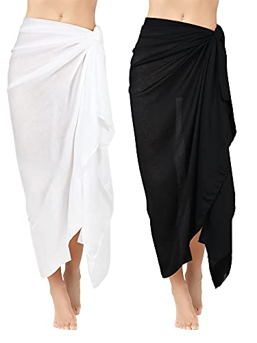 Geyoga 2 Pieces Beach Towels Long Sarong Swimsuit Wrap Shawl Rayon Cover Long Skirt for Ladies, 43.3 x 70.86 Inches (White, Black)