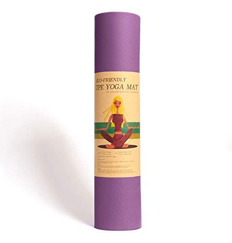 Epic Brands Fitleap Yoga-Matte Pro Violett aus umweltfreundlichem TPE-Schaum. Sehr rutschfeste, schadstofffreie, hypoallergene und hautfreundliche Gymnastik-Matte, Fitness-Matte, Turn-Matte