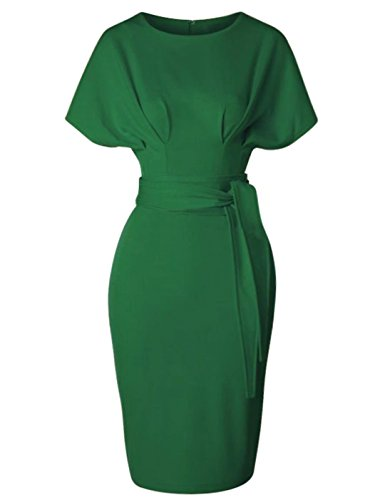 GownTown Women's 50s 60s Vintage Sexy Fitted Office Pencil Dress,Green,X-Large