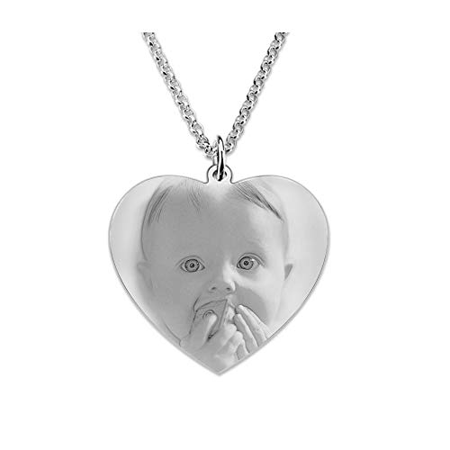 Souljewelry Collar Personalizado con Mensajes y Foto Colgante de Corazón de Acero Titanio para Hombre Mujer Unisex Regalos para Parejas Familias Amigos Color Dorado y Plateado