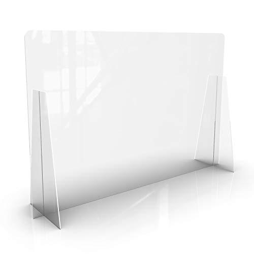 KLEMP Spuckschutz aus Plexiglas Schutzwand Thekenaufsatz - Trennwand für den Schreibtisch – Plexiglas Wandschutz – Spuckschutz für Gastronomie (100x65 cm)