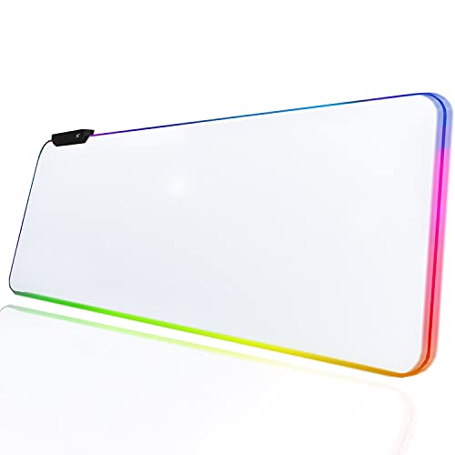 White Gaming Mouse Pad RGB Mouse Pad Non-Slip Rubber Base Extra Large Mousepad 31.5 x 12 inches XL XXL Computer Desk Mat Soft Glowing LED Extended Mousepads for Gamer