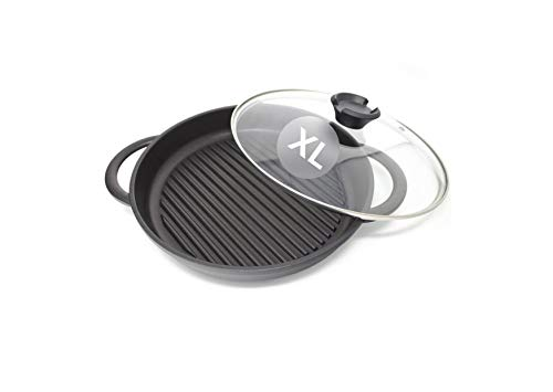 The Whatever Pan XL with Glass Lid | Jean Patrique's Ultimate Griddle pan in a Great New Larger Size | Even More Searing, Sizzling and Grilling!