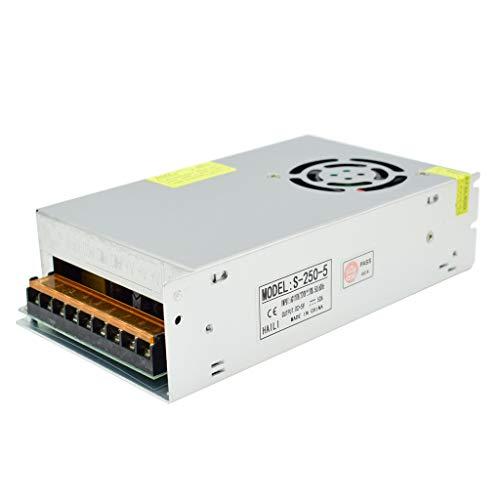 Weishuo Adaptador de Corriente Transformador AC110V / 220V a DC 5V 50A 250W Fuente de Alimentación Conmutada Regulada Universal