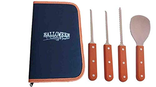 Pumpkin Carving Kit - Professional Heavy Duty Stainless Steel Tools Set for Halloween (4 Pieces with Storage Carrying Case)