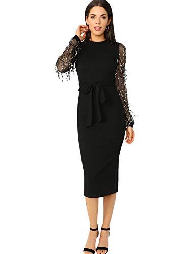 SOLY HUX Damen Kleid Netz Figurbetont Schlauch Kleider mit Gürtel Pailetten Schlitz Party Kleider #7 XS