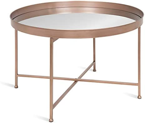 Best Kate and Laurel Celia Round Mirrored Coffee Table, 28.25x28.25x19, Rose Gold