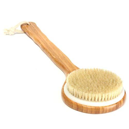 Brosse de Bain Brosse de douche 2 pièces avec longue poignée en bois de bambou Épurateur arrière Brosse exfoliante pour le corps de la baignoire