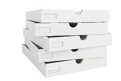Superelch Pappschubladen Kallax Regal für Regaleinsatz – Pappkisten Papierboxen Faltboxen fürs Home Office, Arbeitszimmer, Bastelzimmer 5er Set mit Etiketten