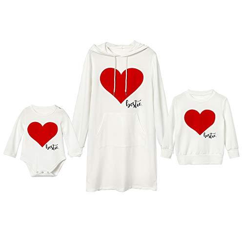 Traje a juego para madre e hija, camiseta de día Alentines a juego para familia, sudaderas con estampado de corazón, para mujer, sudadera, para niños, para bebé y niña