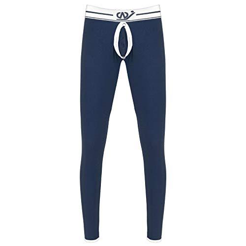 CHICTRY Pantaloni Termici Uomo Pantacollant Compressione Bulge Pouch Rimovibile Leggings Termici Vita Bassa Leggero Collant Caldo Invernali Ciclismo Sci Corsa Allenamento Blu C M