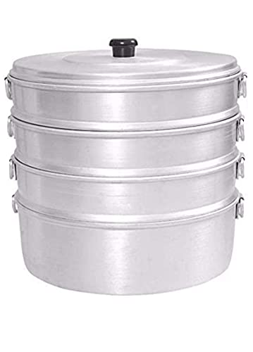 Momo Dampfgarer, Dampfgarer, Kochen, Stielkorb, Aluminium, Schnellkochtöpfe (3000 Mikron), silberfarben