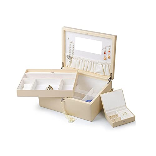 RKL Caja De Joyería con Cerradura Y Espejo, Caja De Exhibición De Joyas De 2 Capas, Caja De Joyería Femenina Grande, Caja De Joyería con Soporte De Collar (tamaño : White-L)