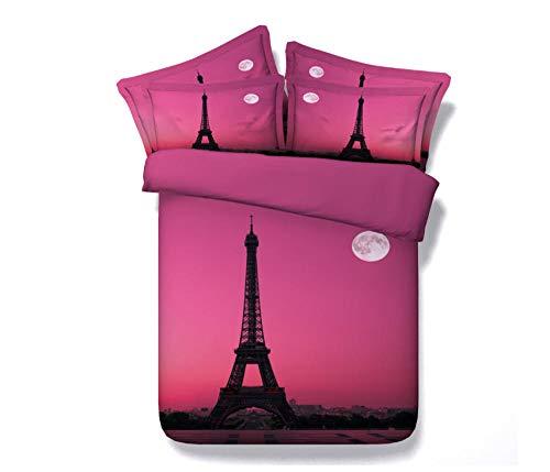 Juego de Ropa de Cama París Rosa Funda De Edredón 3D Imprimiendo, Cremallera Funda Nórdica y Funda de Almohada 220cm x 240cm