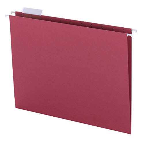 Smead Colored Hanging File Folder with Tab, 1/5-Cut Adjustable Tab, Letter Size, Red, 25 per Box (64067)