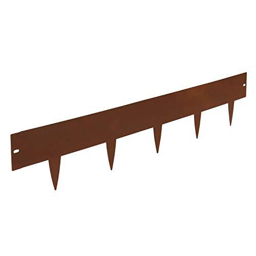 bellissa 2er Set Rasenkante Spina – Beeteinfassung, Beetumrandung, Mähkante, Wegbegrenzung corten 103x16 cm Nutzlänge 20 m