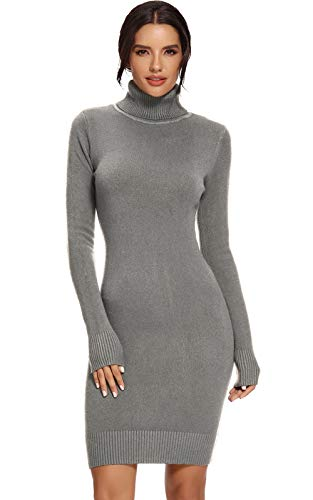 Avacoo Damen Kleider Strick Pulloverkleid Elegant Strickkleid Rollkragen Langarm Tunika Kleid Midikleid Grau L 40