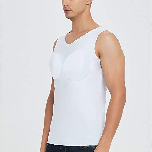 QWA Fälschung Muskel T-Shirt zum Männer, Bodybuilding Bilden Trainieren Panzer Tops Hemden Simuliert Muskel Modul Abnehmbar Pad (Color : White, Size : Large)