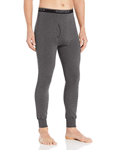 Duofold Men's Mid Weight Wicking Thermal Pant, Granite Heather, L