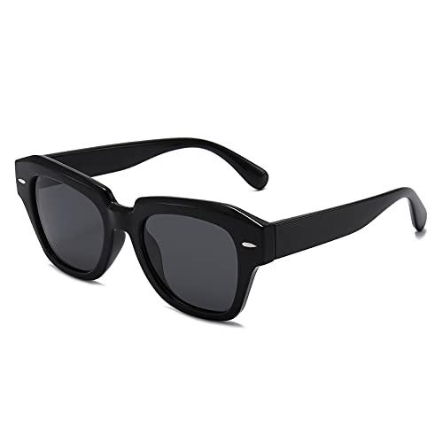 Dollger Gafas de sol polarizadas para mujeres y hombres, gafas de sol cuadradas para conducir sombras, (A: marco negro lente gris), Medium