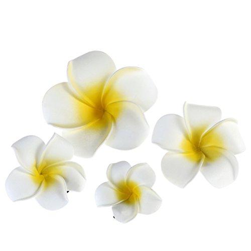 Frcolor Hawaïenne Barrette Pinces à Fleurs Pinces à Cheveux Clip Plumeria Fleur - 4 Pieces