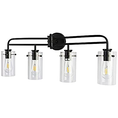 YIINO 4 Lights Bathroom Vanity Light Fixture, Industrial Black Indoor Wall Mount Light with Clear Glass Shade, Wall Sconces Lighting for Living Room Hallway Bedroom Dressing Table Mirror Cabinets