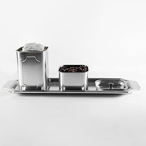 I-K-E-A Vorratsdose mit Deckel und Tablett - Hochwertige Vorratsbehälter zur Lebensmittelaufbewahrung aus Metall [2er Set] - Edle Aufbewahrungsdose Silber