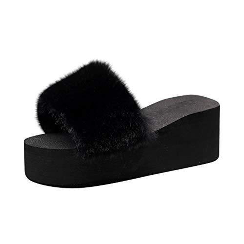Alwayswin Damen Mode Plüsch Hausschuhe Sandalen Offene Zehe Flache Warme Schuhe Winter Pantoffel Haarige Kaninchen Ohr Vlies Pantoffel