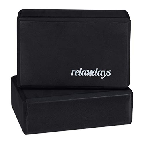 Relaxdays Unisex– Erwachsene 8x23x15cm, schwarz Yogablock im 2er Set, Klötze f Übungen, Hartschaum, rutschfest, Yoga-Würfel HBT 8x23x15 cm