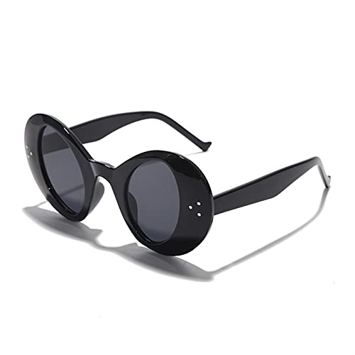 Vintage Oval Gafas de Sol Hombres Gafas de Moda de Lujo Mujeres Negro Rojo Colorido Punk Gafas de Sol Damas Gafas UV400 Hombres (Color : 1, Size : G)