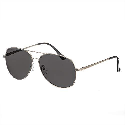 Nebelkind Piloten-Sonnenbrille Pilotenbrille Silberner Metallrahmen Graue Gläser Brillenetui Unisex One Size