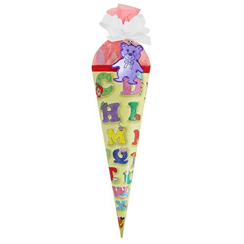 Schultüte Zuckertüte ABC gelb, 35 cm gefüllt mit Süßigkeiten und Schreibutensilien Geschenkidee zum Schuleingang Schulanfangsgeschenk ABC-Schütze